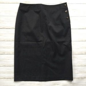 Talbots Pinstripe Fully Lined Button Detail Skirt